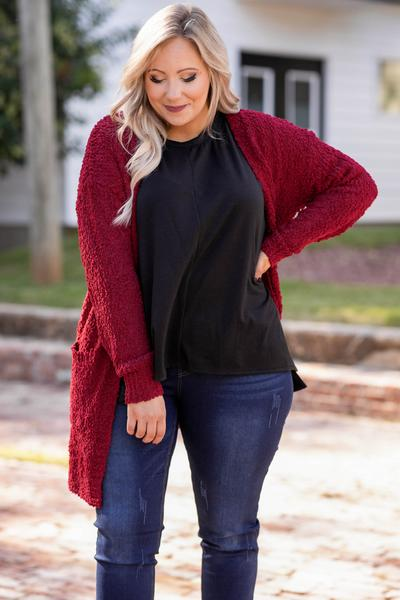 top, casual, black, solid, long sleeve