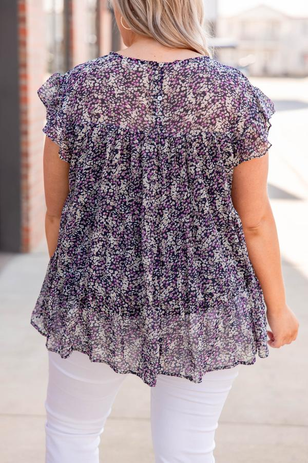 top, casual, babydoll, blue, navy, floral, short sleeve