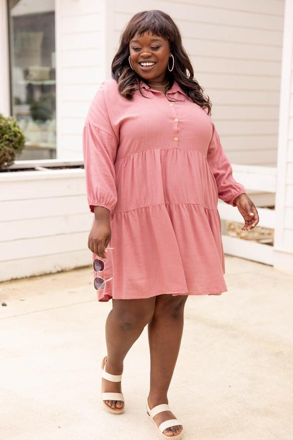 dress, casual, babydoll, pink, rose, solid, long sleeve