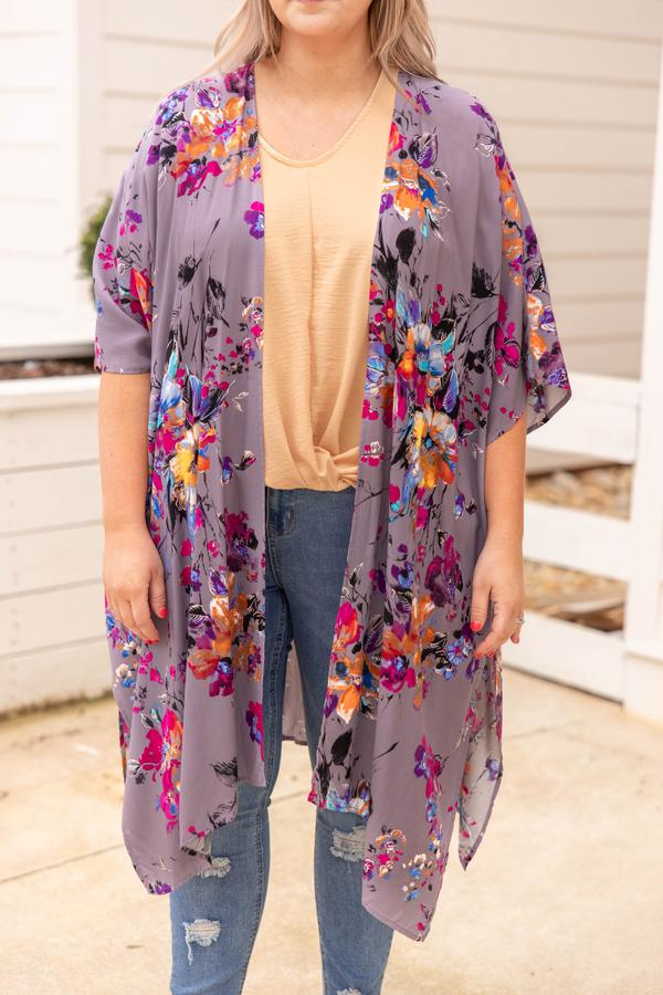 top, kimono, floral, grey, pink, long, mid length sleeve