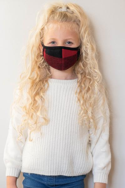 accessory, mask, red, plaid, buffalo, cute, small, kid, kids
