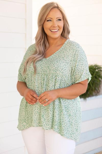 top, casual, babydoll, green, mint, solid, short sleeve