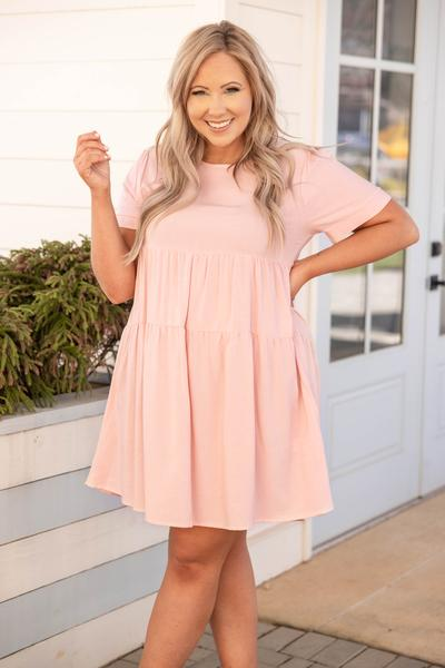 dress, casual, babydoll, rose, solid, short sleeve, comfy