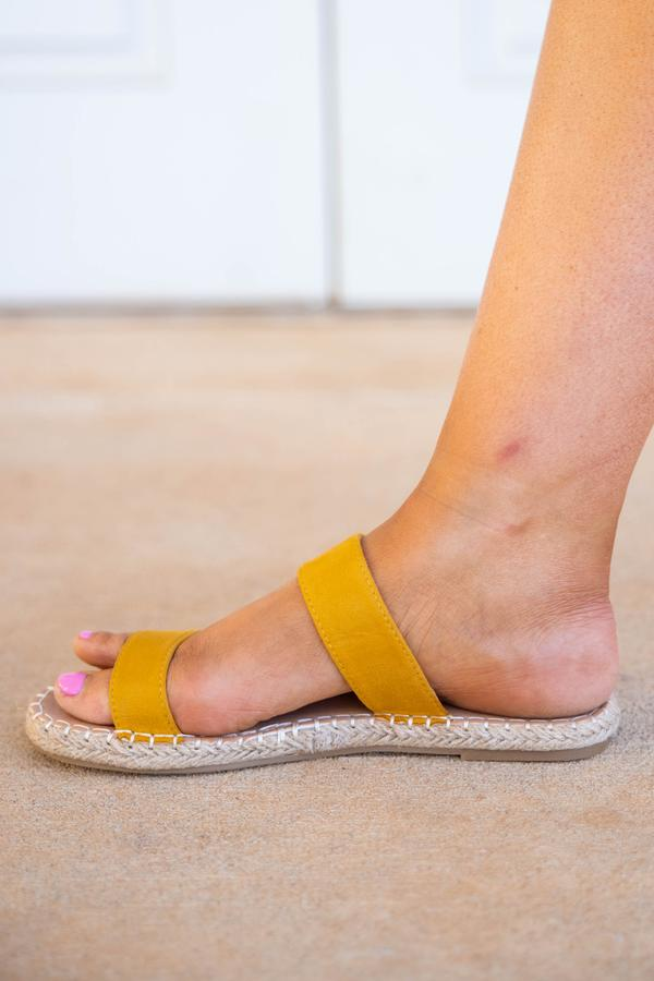 shoes, sandals, yellow, mustard, solid