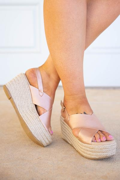 shoes, wedges, pink, rose gold, solid, espadrilles