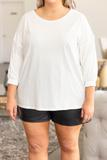 top, longsleeve, white, mid length sleeve, comfy, basic