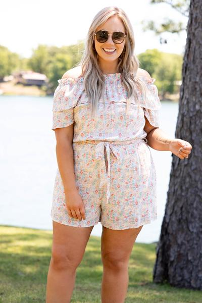 Sailboats And Champagne Romper, Orange Multi