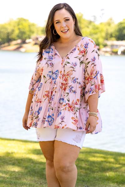 tops, casual top, babydoll, pink, floral, bell sleeve