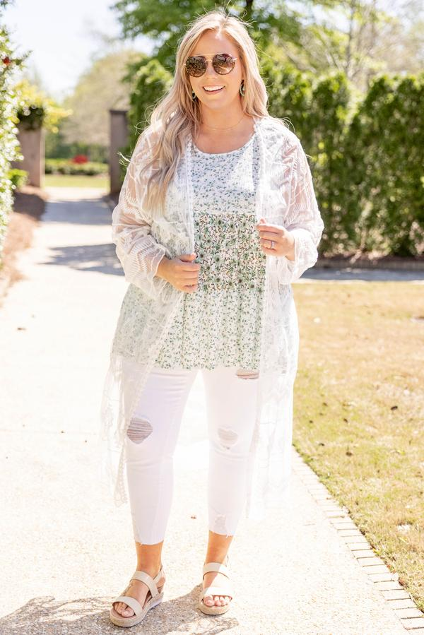 top, kimono, white, lace, ivory, long sleeve