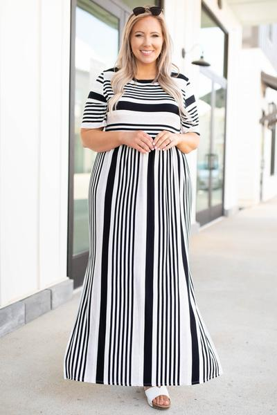 dress, black, maxi, striped, short sleeve, white