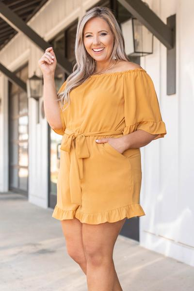 dress, romper, mustard, yellow, solid, flutter sleeve