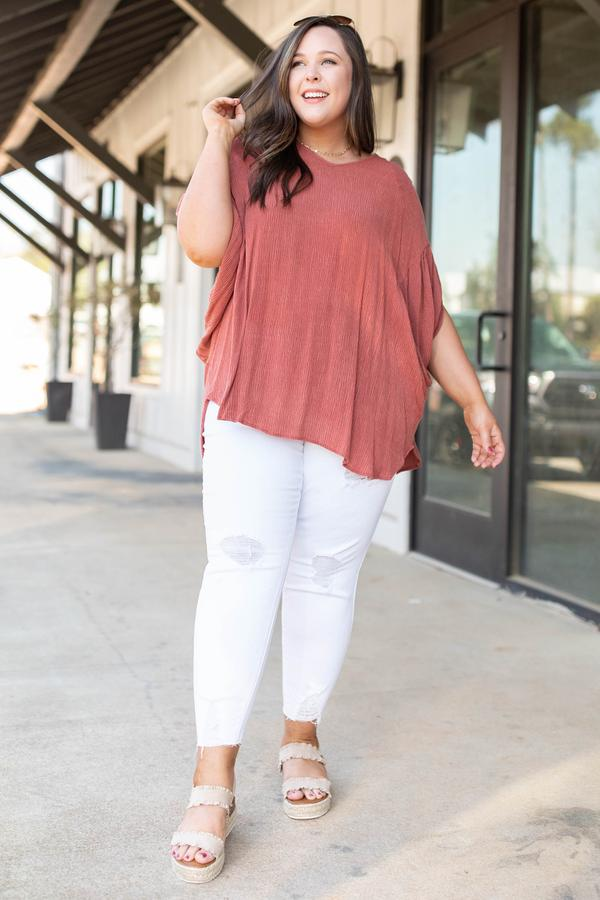 top, casual, orange, solid, batwing, rust