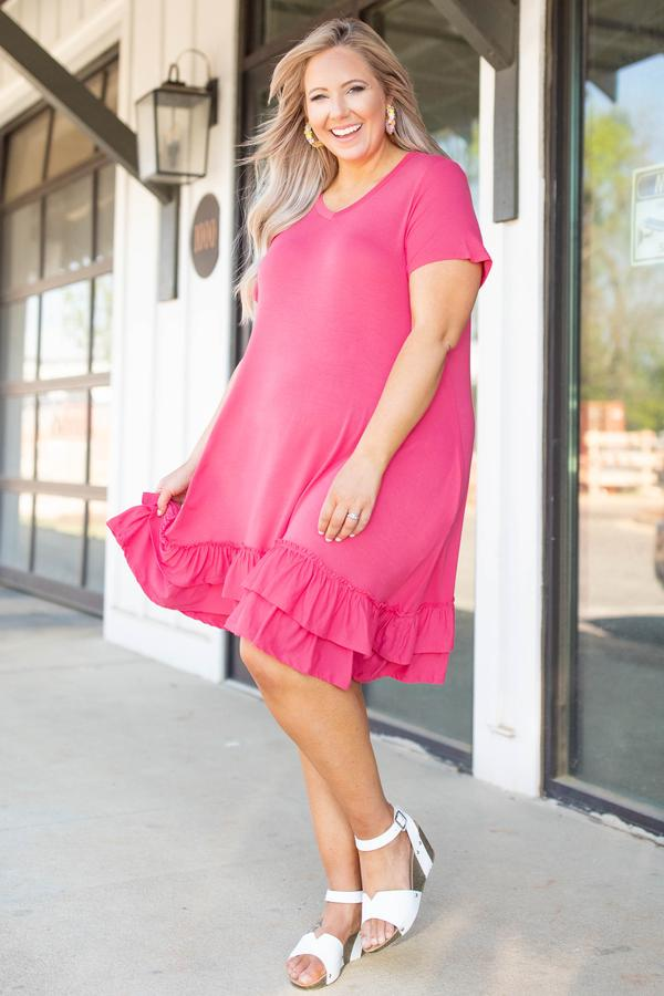 dresses, short, flowy, coral, short sleeve