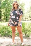 dresses, romper, floral, black, short sleeve