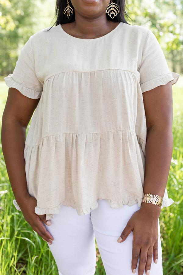 top, oatmeal, babydoll, short sleeve, flowy, plain, basic