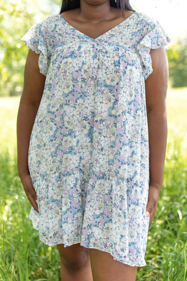 dress, knee length, short sleeve, ruffle sleeve, floral, sage, lavender