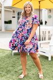 dress, short, short sleeve, floral, blush multi