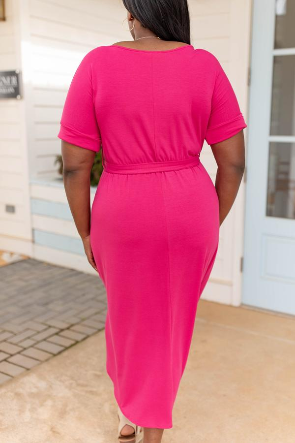 dress, casual, plain, basic, midi, short sleeve, hot pink