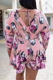 dress, romper, mid length sleeve, floral, mauve