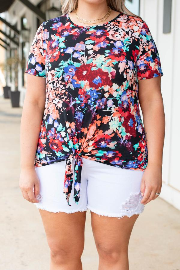 top, casual, floral, front tie, short sleeve, black multi