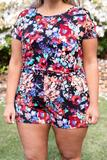 dress, romper, floral, short sleeve, black