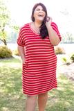 dress, basic, red, striped, short sleeve, ruby, white