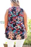 top, tank, black, floral, tank sleeve