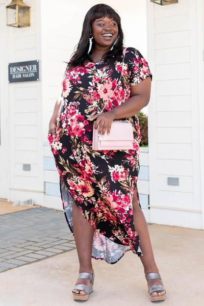 dress, maxi, black, floral, short sleeve
