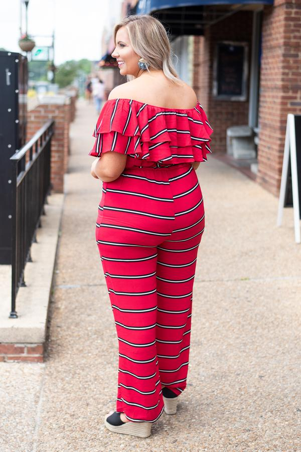 jumpsuit, short sleeves, off the shoulder, ruffle top, long pants, wide leg, belted waist, fitted, red, black, whiste, striped, comfy