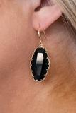 earrings, black, dangly, gemstone, gold details
