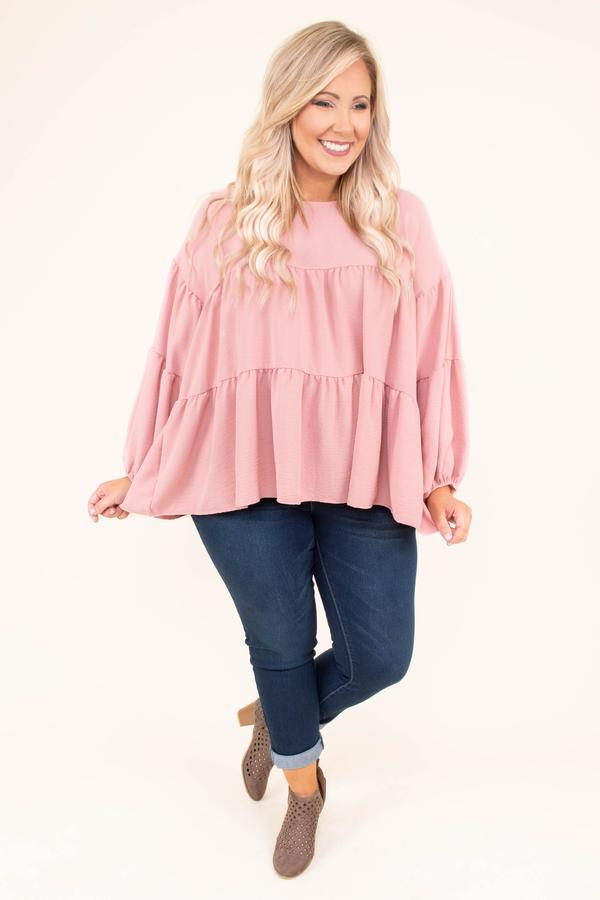shirt, long sleeves, bubble sleeves, babydoll, ruffles, flowy, short, pink, solid, fall, winter, spring