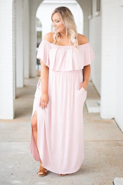 dress, maxi, off the shoulder, short sleeve, ruffle top, flowy, pockets, high slit, comfy, pink