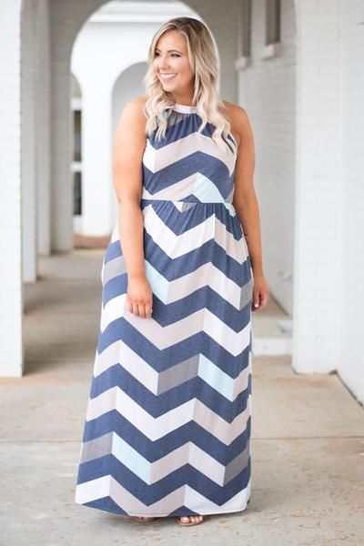 dress, maxi dress, pockets, navy, chevron, mint, pink, taupe, tank top