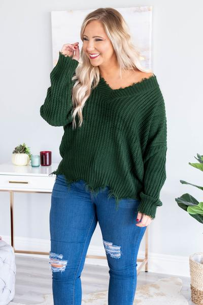 sweater, long sleeve, vneck, short, frayed hems, cable knit, green, comfy, fall, winter