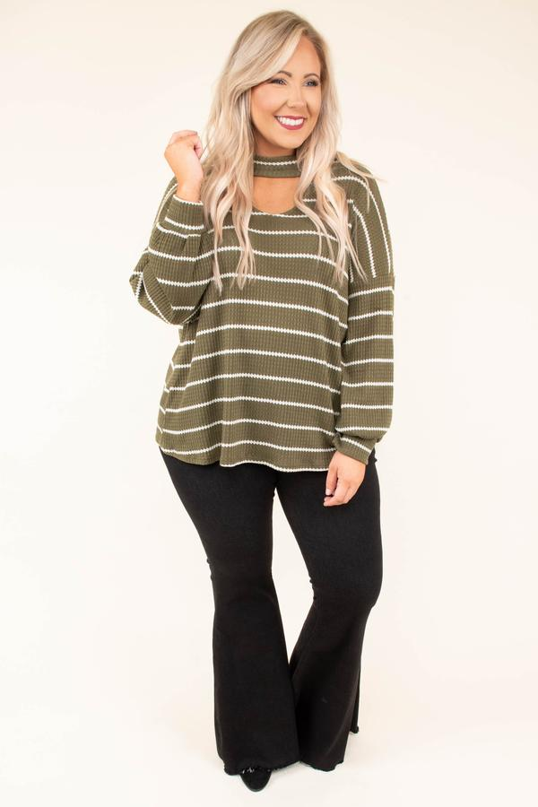 shirt, long sleeve, vneck cutout, loose, bubble sleeve, olive, white, striped, comfy, fall, winter