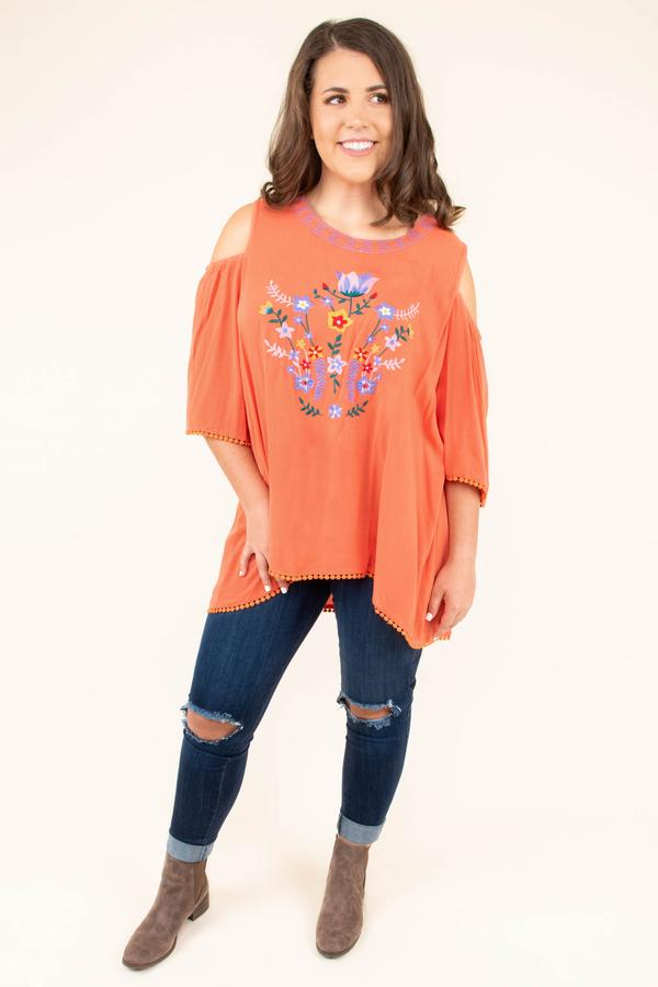 top, flowy, coral, cold shoulder, three quarter sleeve, embroidery, multi-colored