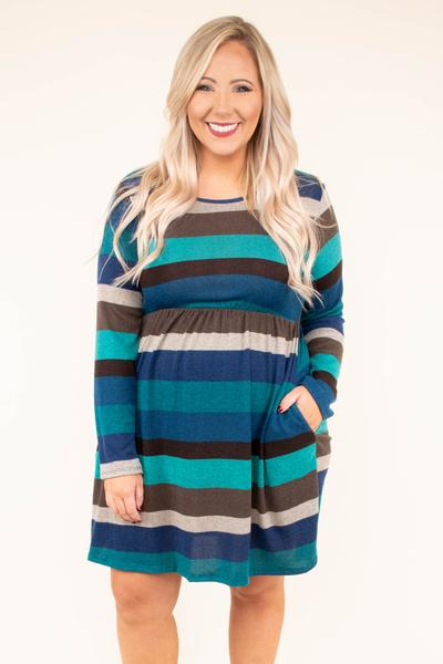 dress, short, long sleeve, pockets, fitted waist, brown, teal, gray, blue, striped, flowy, comfy, fall, winter