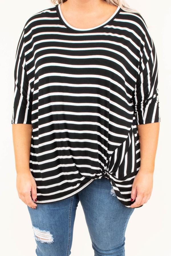 shirt, three quarter sleeve, twisted hemline, long, flowy, black, white, striped, comfy