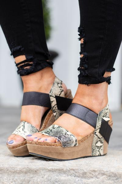 shoe, wedge, sandals, black, snake, cork, straps
