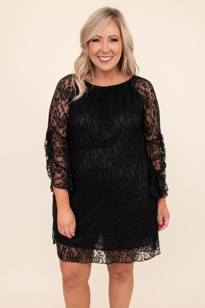dress, short, three quarter sleeve, fitted, black, lace, unlined sleeves, comfy