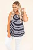 top, tank top, navy, white stripe, lace detail, baby doll fit