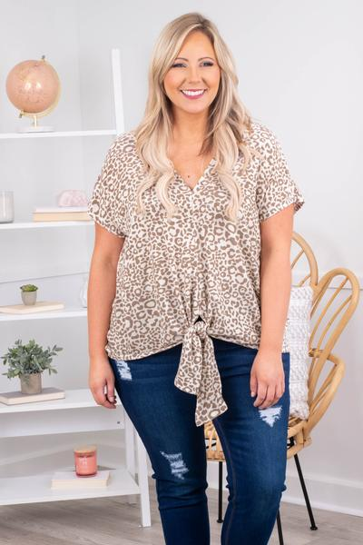 taupe, printed, tie top, neutral, short sleeves, v neck, figure flattering, flowy