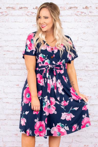 dress, short dress, tie front, button front, floral, navy, pink, short sleeve, spring, summer, loose, knee length, comfy