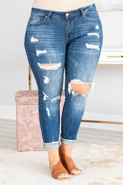 jeans, blue, distressed, ripped, skinny, long