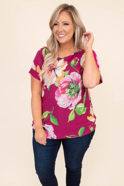 shirt, short sleeve, large floral pattern, fuchsia, comfy, green