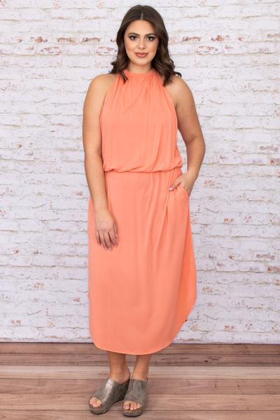 dress, special occasion, party, pink, solid, sleeveless, coral