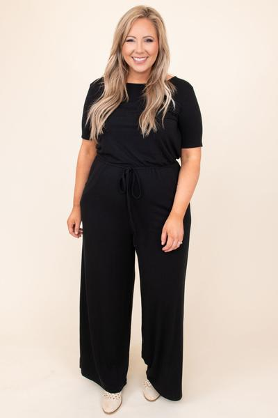 dress, jumper, jumpsuit, black, solid, short sleeve