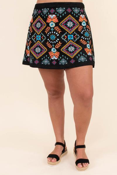 skirt, short skirt, above the knee, embroidered, black, colorful, orange, fuchsia, blue