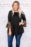 tunic, three quarter sleeves, ruffle sleeves, leopard ruffles, black, solid, loose, flowy, comfy