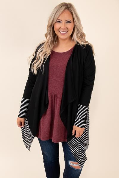 cardigan, stripes, long sleeve, open front, black, flowy